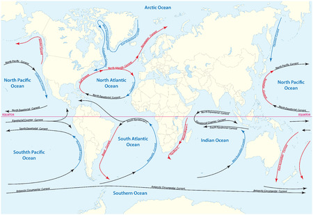 currents: world map with major marine currents