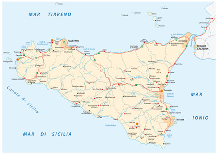 detailed road map of Iceland sicily, italy