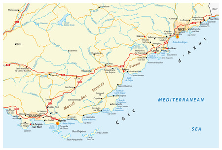 french riviera: detailed road map of french riviera