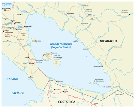 central america: vector map of Central America Nicaragua lake