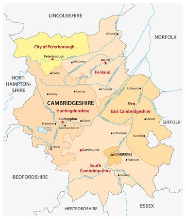 cambridgeshire: vector map of the administrative county cambridgeshire, england Illustration