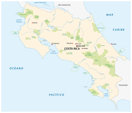 central park: vector map of the national parks of Costa Rica Illustration