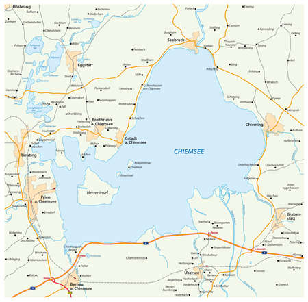 motorway: vector road map of the Bavarian lake Chiemsee, Germany Illustration