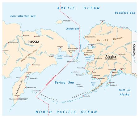 vector map of the Bering Strait between Russia and Alaska