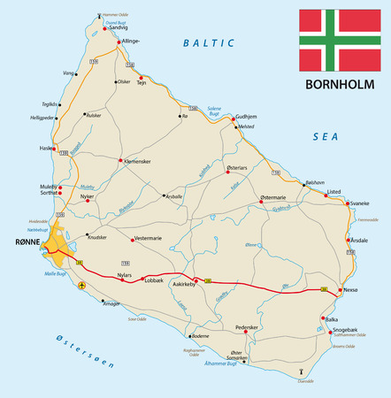 municipalities: vector road map of the Danish Iceland bornholm in the Baltic sea with flag