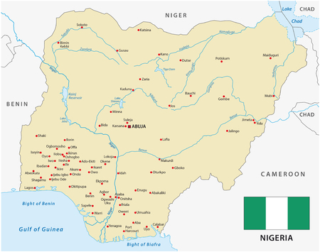 atlantic city: vector map of Federal Republic of Nigeria with flag