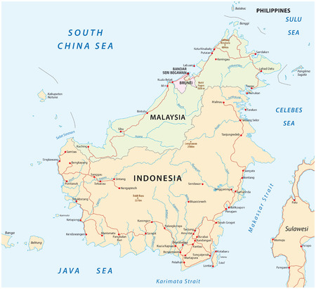 indonesia: vector road map of Iceland Borneo  Kalimantan