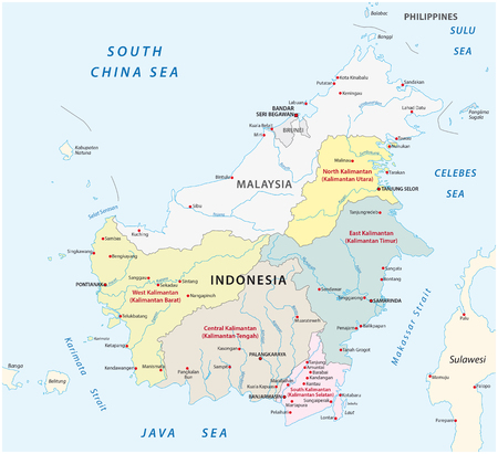 administrative and political vector map of Indonesia's districts on the Iceland Borneo / Kalimantan