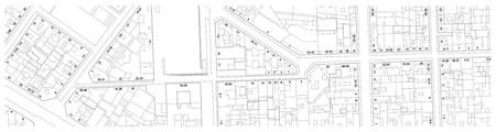 建物、通り、番地で領土の架空地籍地図