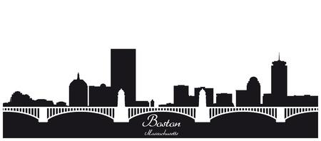 boston skyline: boston city skyline black and white silhouette