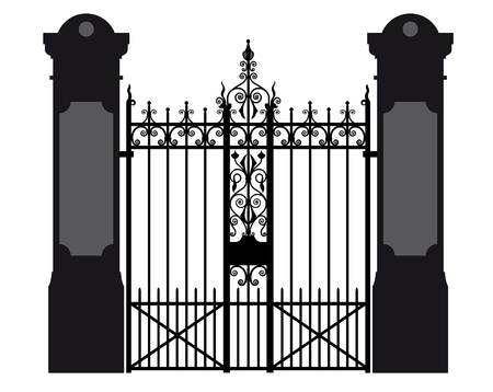 furnish: vector illustration of a wrought iron gate