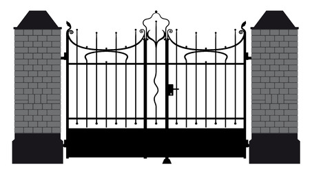 front gate: vector illustration of a wrought iron gate