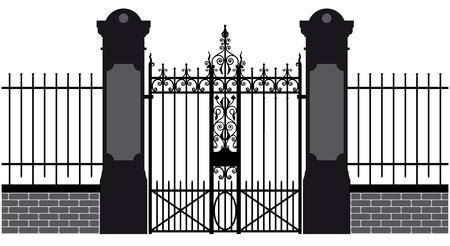 verjas: ilustración vectorial de una puerta de hierro forjado Vectores