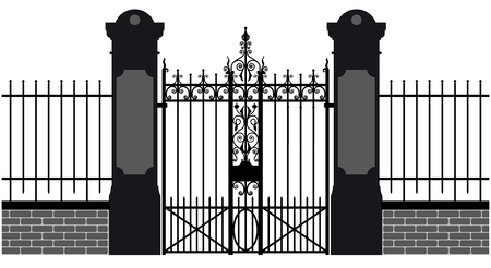 to furnish: vector illustration of a wrought iron gate