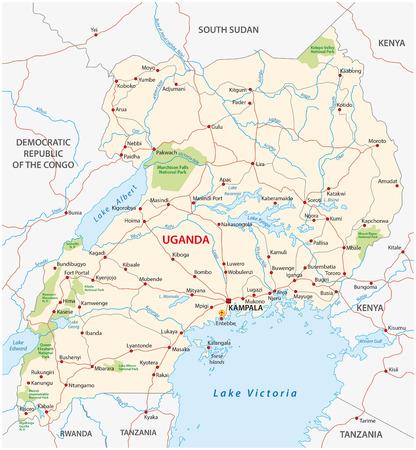gedetailleerde kaart vector straat van republiek Uganda
