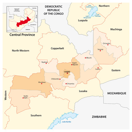 zambia: vector administrative and political map of Central Province of Zambia