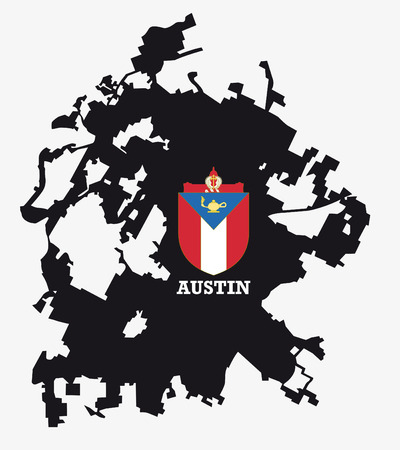 city coat of arms: city ??of Austin map silhouette with coat of arms
