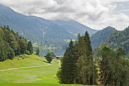 tirol: Hintersteiner See mountain lake in the nature reserve Wilder Kaiser Tirol austria
