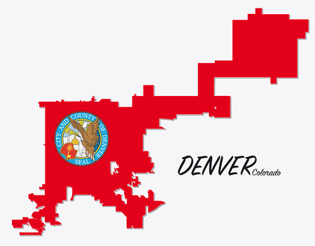 denver colorado: map with seal and limit of denver, colorado Illustration