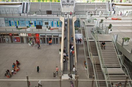 futurist: People on the escalators of new Forum des Halles in Paris, France