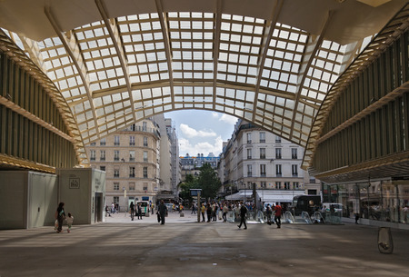 futurist: entrance and canopy forum les halles in paris, france Editorial