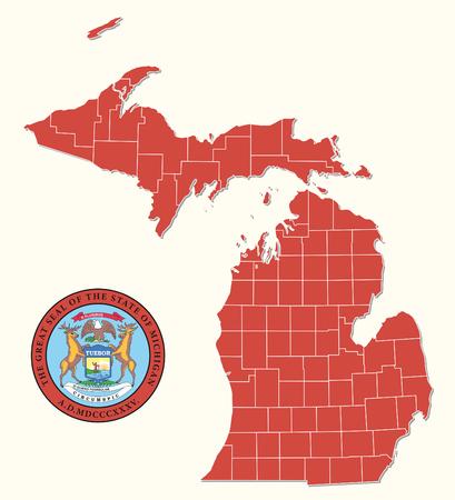 eenvoudige, administratieve en politieke kaart met zegel van de Amerikaanse federale staat Michigan
