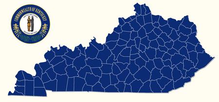 eenvoudige, administratieve en politieke kaart met zegel van de Amerikaanse staat Kentuckey