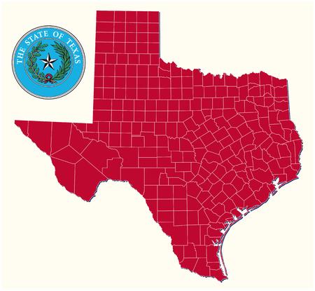 eenvoudige, administratieve en politieke kaart met zegel van de Amerikaanse staat Texas Stock Illustratie