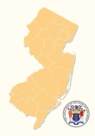 Carte simple, administrative et politique avec sceau de l'État américain du New Jersey