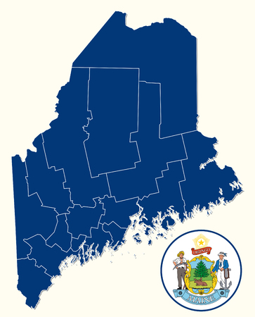 simple, administrative and political map with seal of the US State of Maine Ilustração