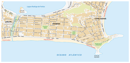 janeiro: street map with names of the Ipanema district of Rio de Janeiro Illustration