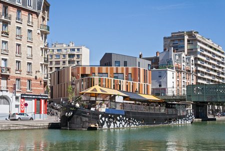 martin: restaurant ship on the Saint Martin canal in Paris, France