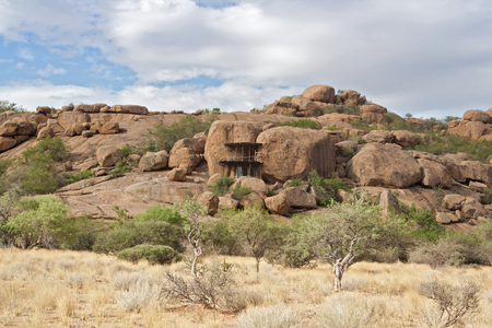 dwelling: cave dwelling on the guest farm Omandumba in Erongo Mountains Namibia Stock Photo