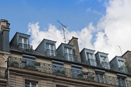 roof windows: typical Parisian Roof windows in front of blue sky