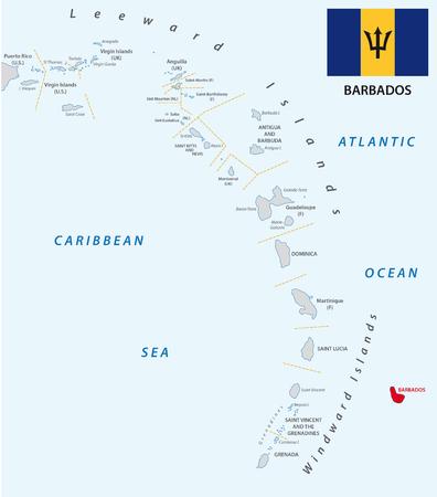 barbados: lesser antilles outline map with flag Barbados