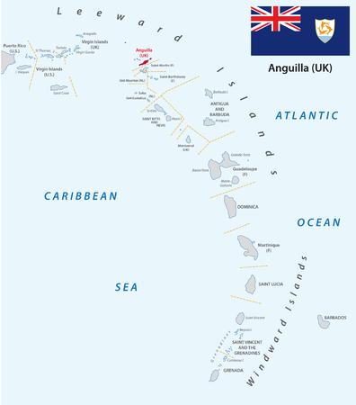 windward: lesser antilles outline map with flag anguilla Illustration