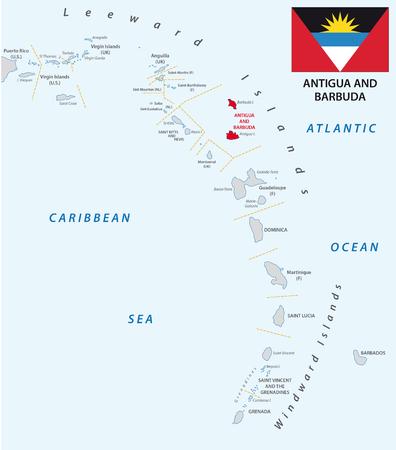 windward: lesser antilles outline map antigua and barbuda with flag Illustration