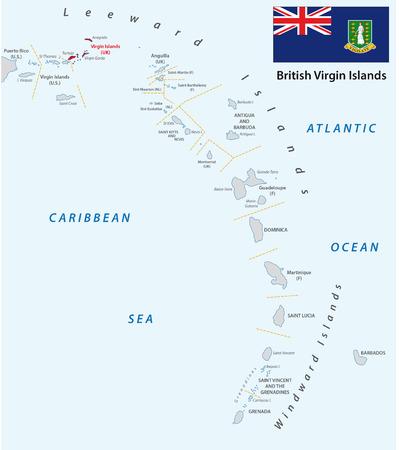 oversea: lesser antilles outline map british virgin islands with flag Illustration