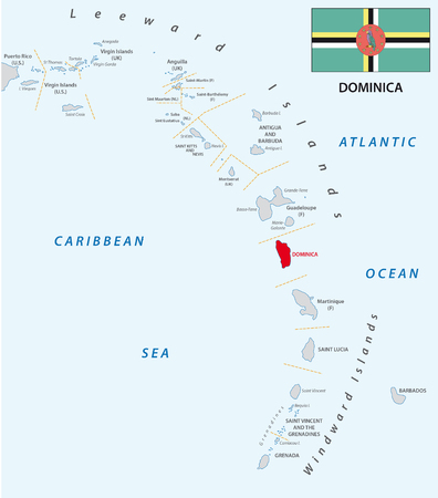 windward: lesser antilles outline map with flag dominica