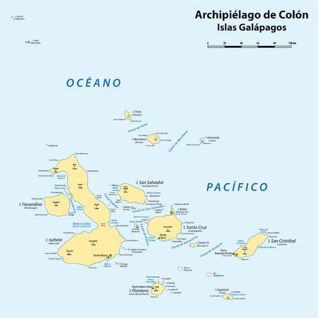 archipelago: map of the Ecuadorian archipelago of Galapagos (Galapagos islands)