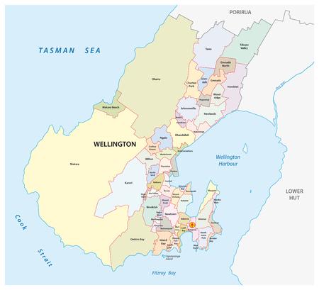 suburbs: administrative map of New Zealands capital Wellington Illustration