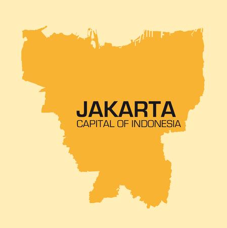 jakarta: simple outline map of the Indonesian capital jakarta Illustration
