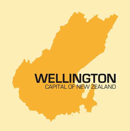 urbane: simple outline map of New Zealands capital wellington