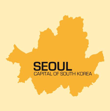 seoul: simple outline map of South Korean capital Seoul