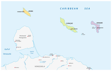 Location Map Of The ABC Islands In The Caribbean Sea Royalty Free