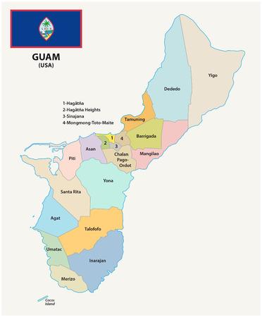 silhouette contour: Guam administrative map with flag