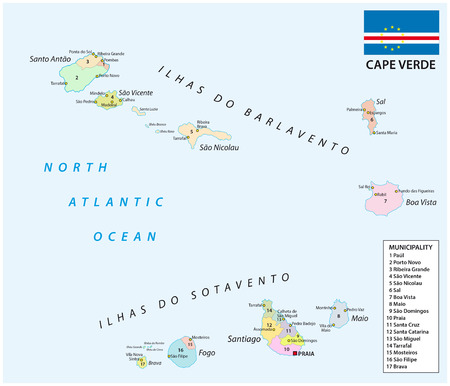 praia: cape verde administrative and political map with flag