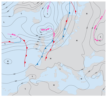 weather map: imaginary weather map showing isobars and weather fronts europe Illustration