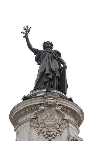 marianne: isolated statue of the Place de la Republique, Paris