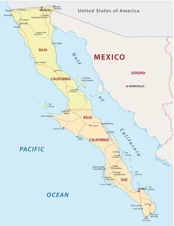 baja california road and administrative map Illustration